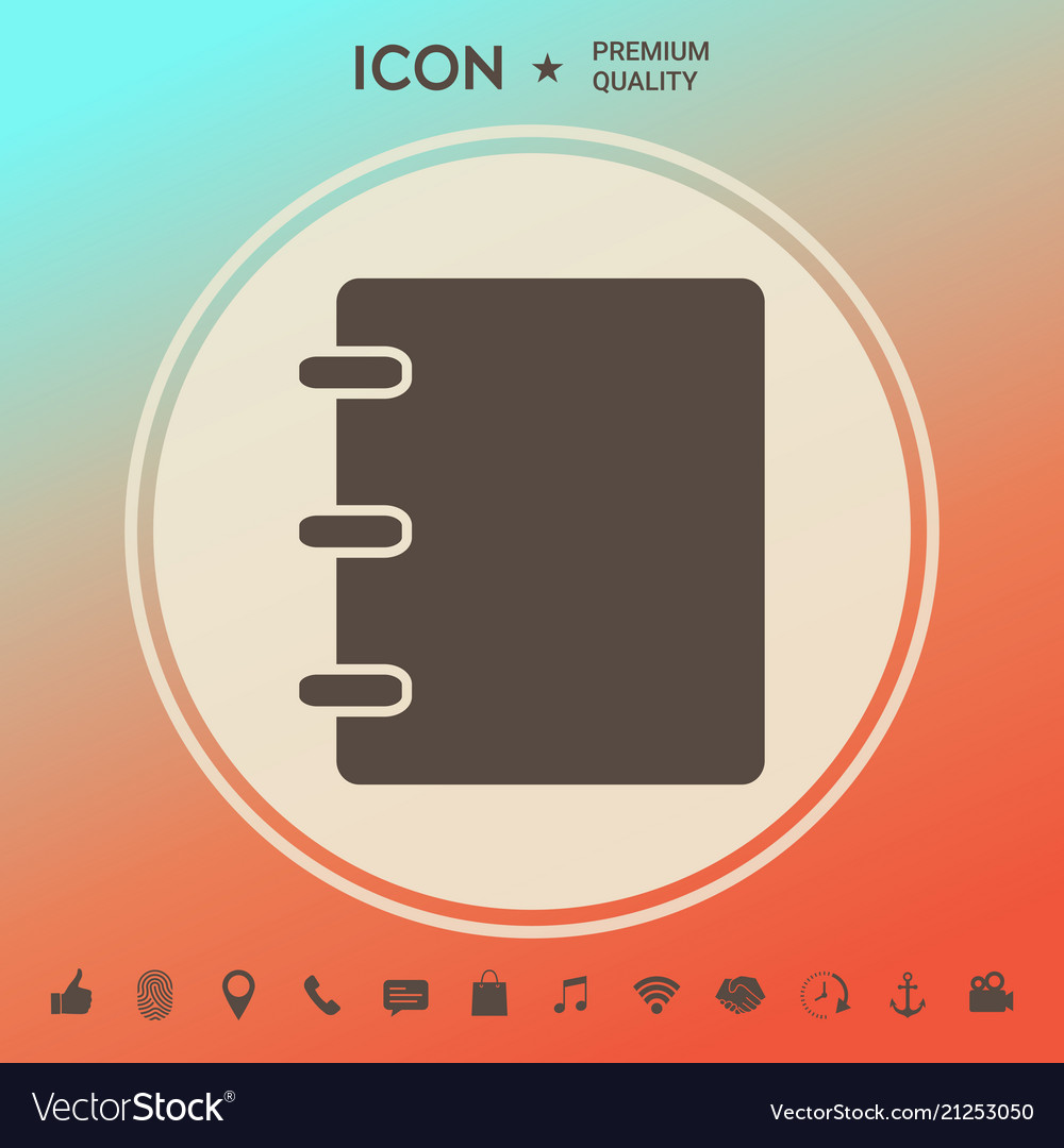 notebook address phone book icon with blank vector image