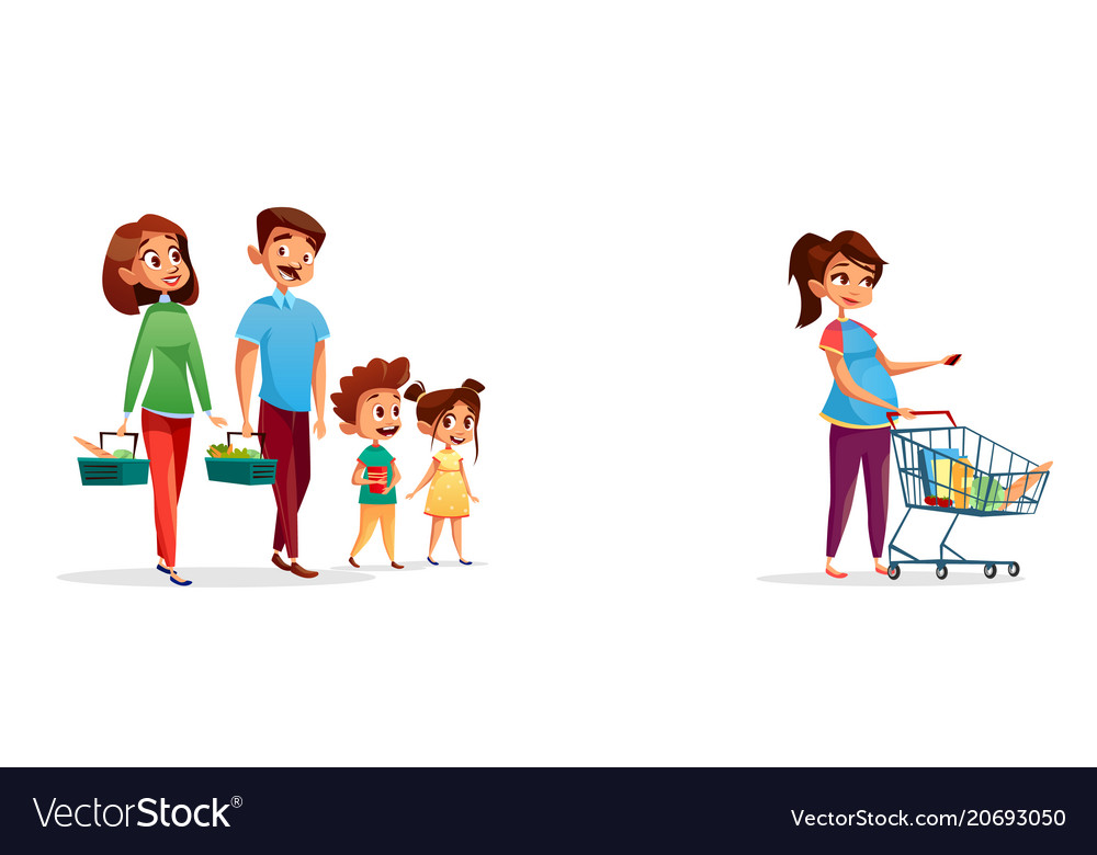 People with shopping carts cartoon