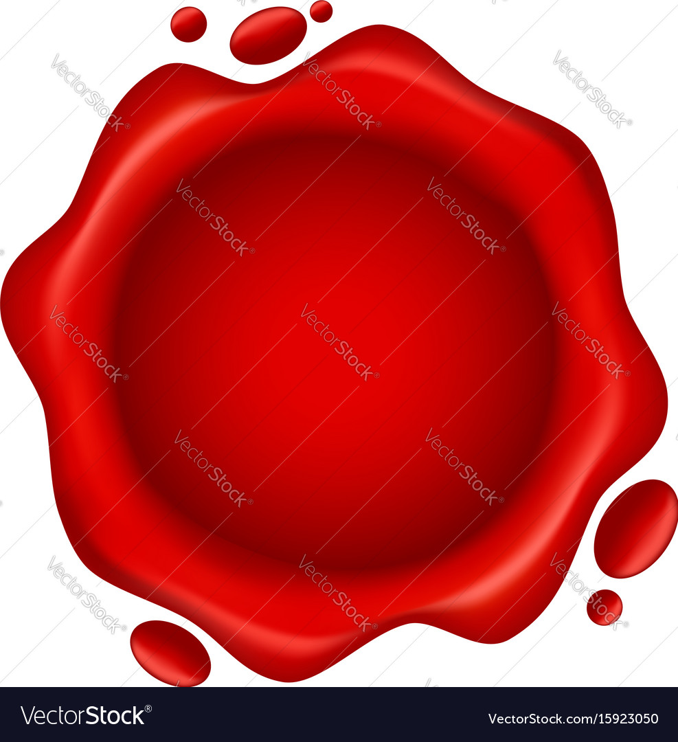 Red wax seal with small drops isolated on white