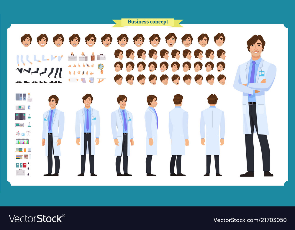 Scientist character creation set man working
