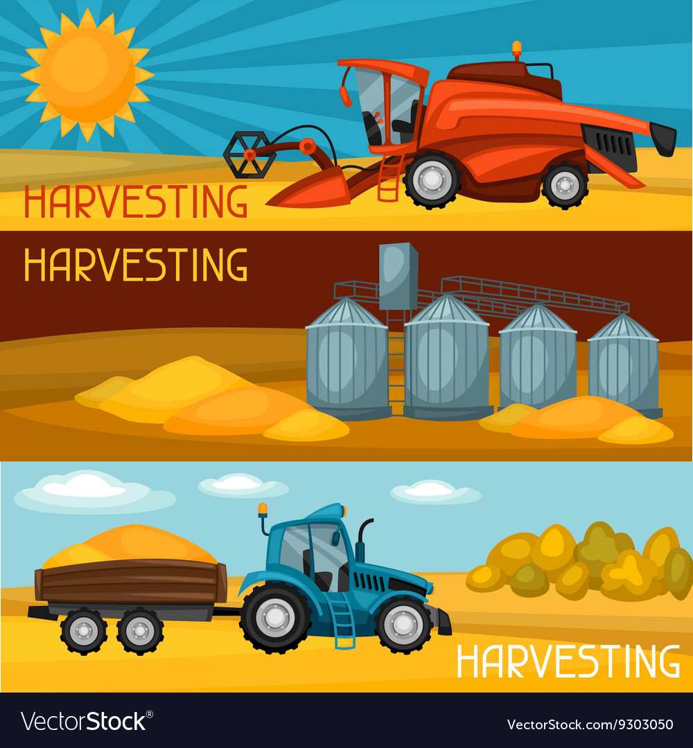 Set of harvesting banners Combine harvester