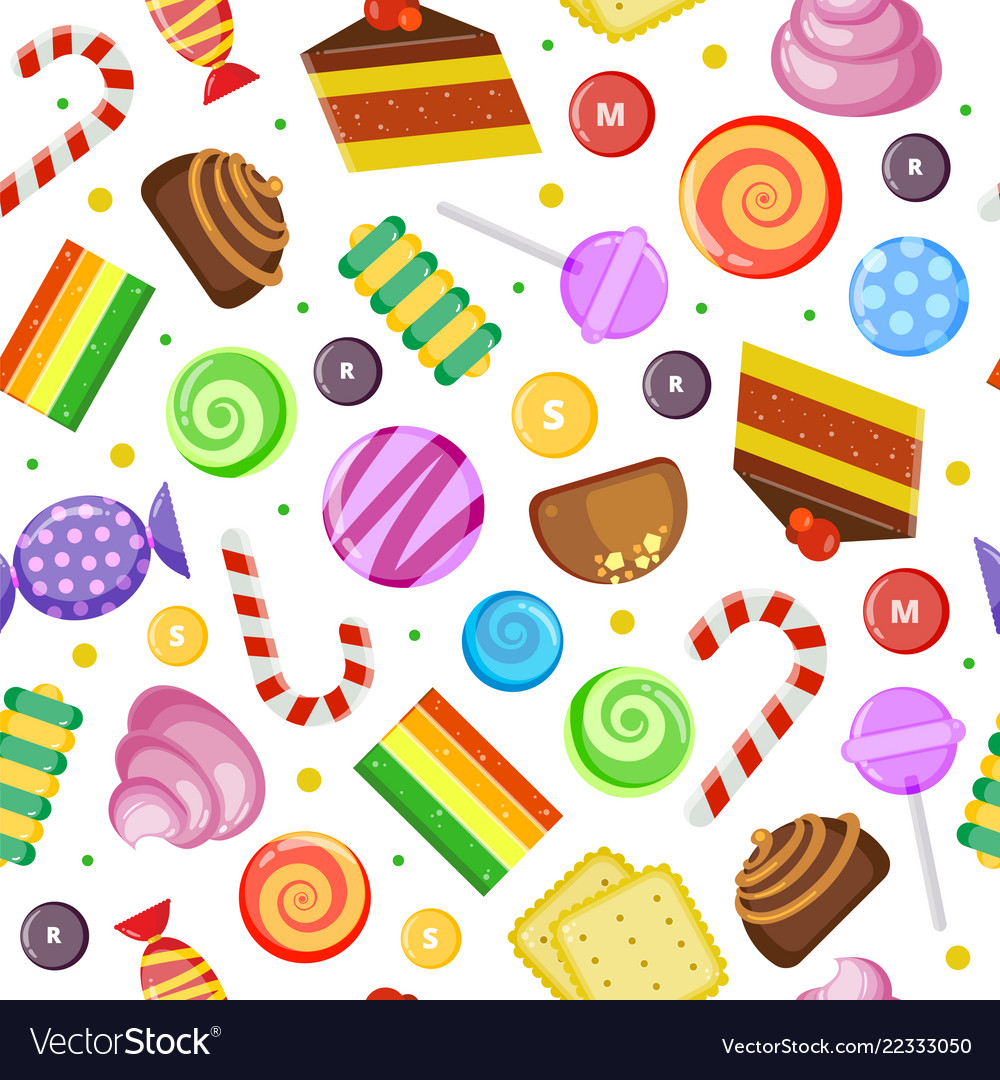 Sweets pattern biscuits cakes chocolate and