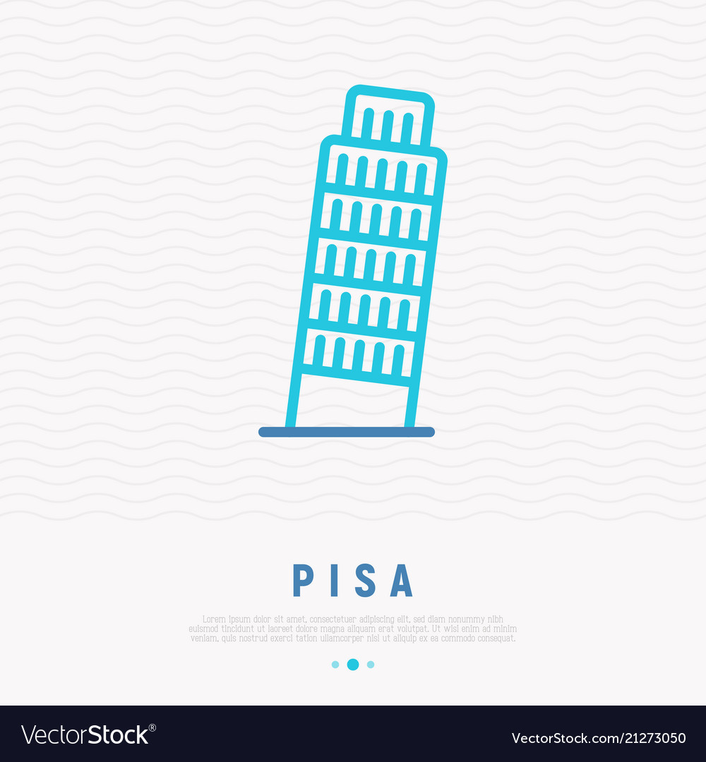 Tower of pisa thin line icon