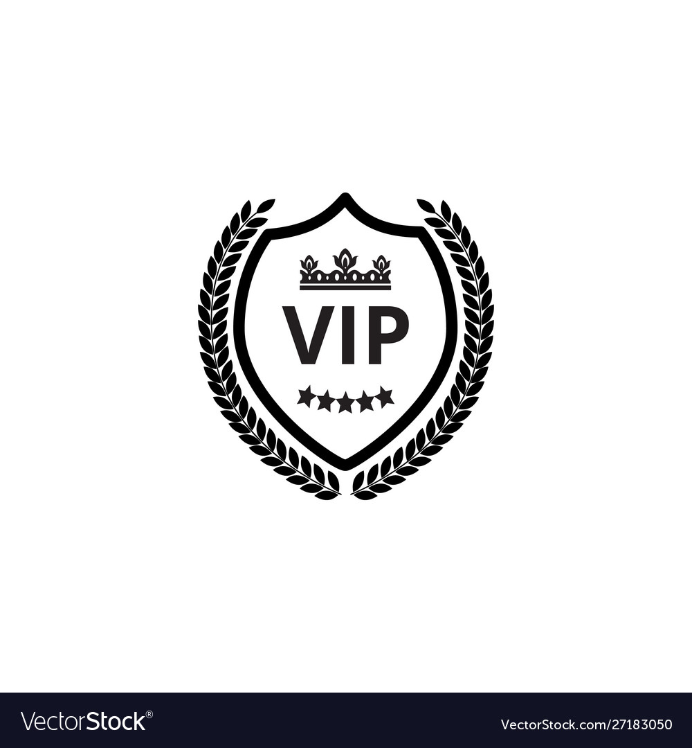 Vip shield label with crown and wreath monochrome