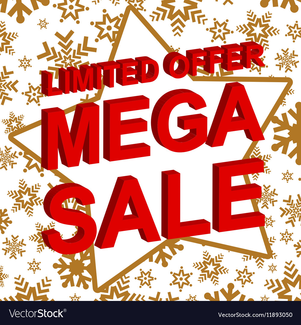 Winter sale poster with LIMITED OFFER MEGA SALE vector image