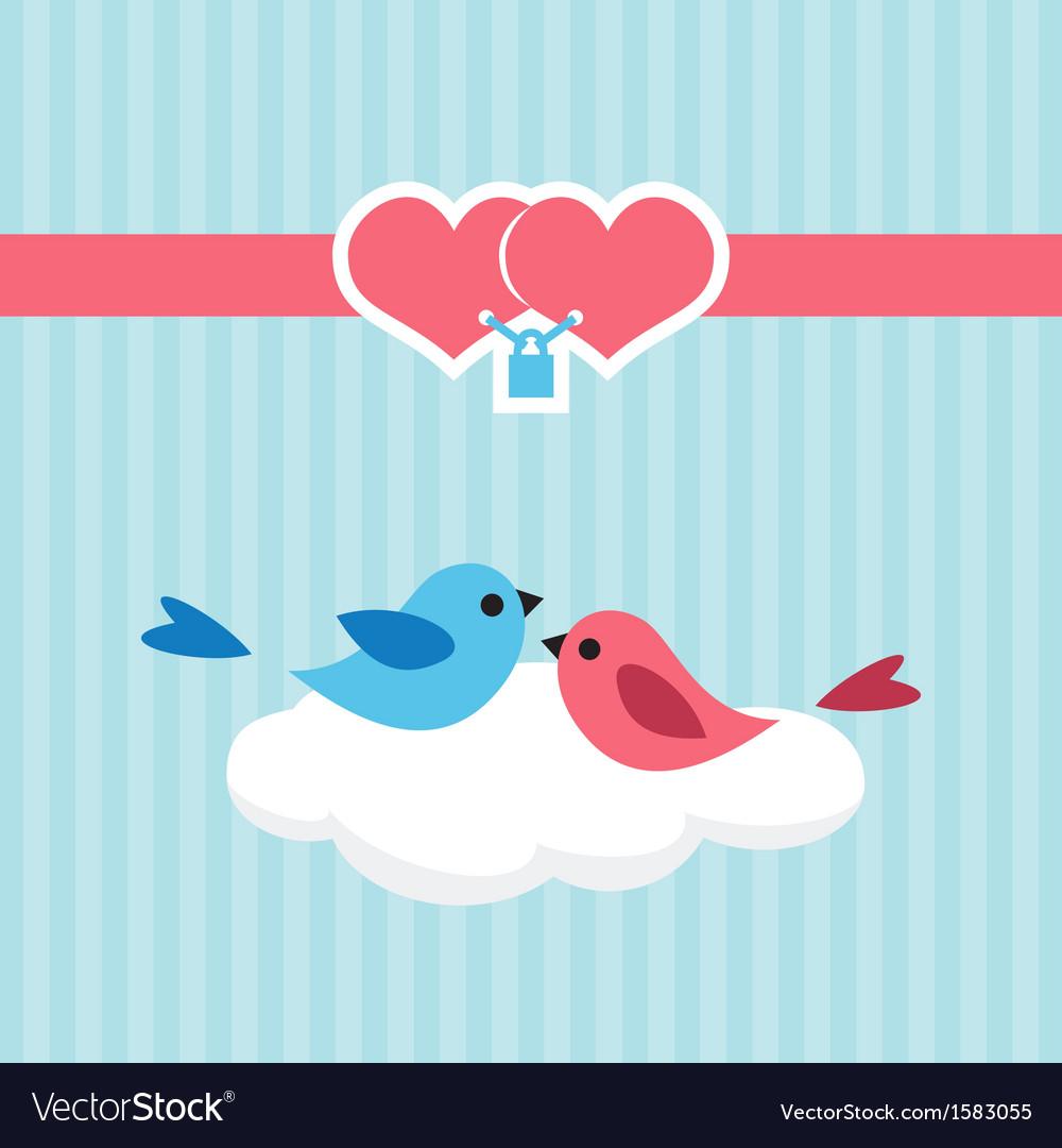 Birds in love on a cloud