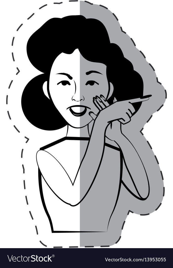 Cartoon woman expression gesture vector image