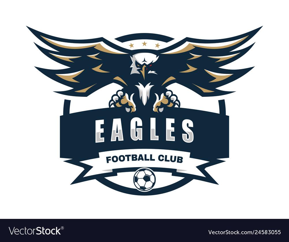 Eagle Football Team Logo Design Template Vector Image