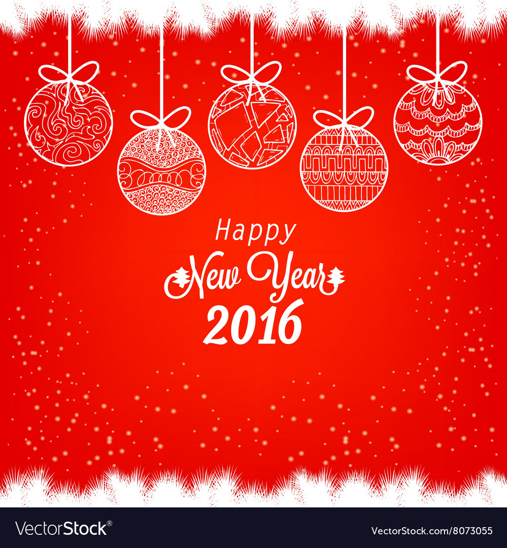 Happy New Year 2016 with christmas balls