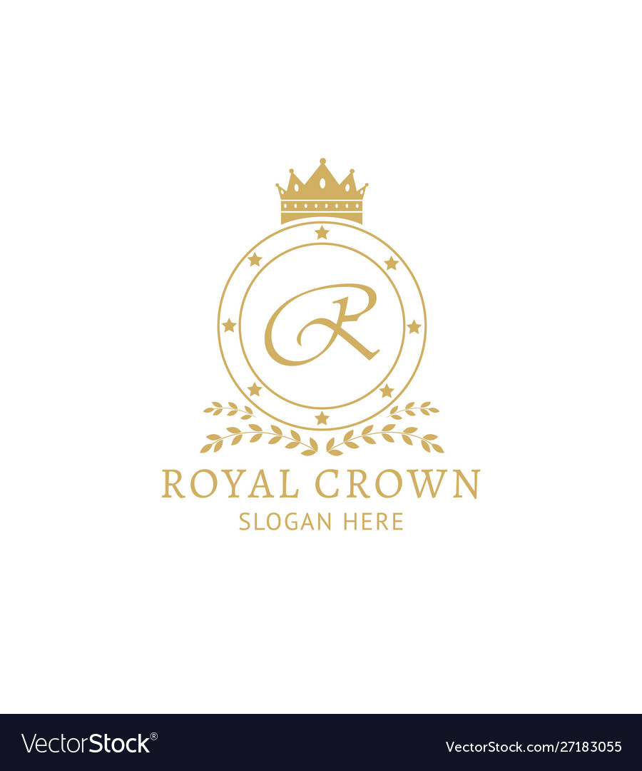 Royal crown logo template - golden badge with