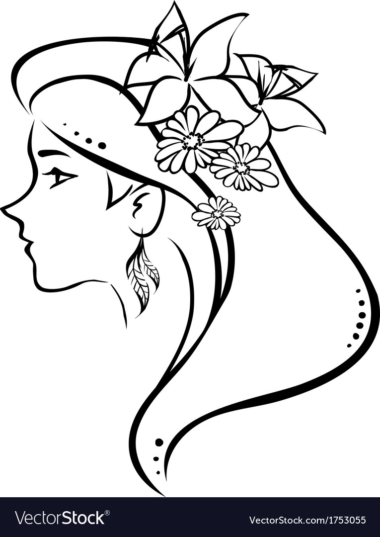 Symbolic profile woman with flowers in hair vector image