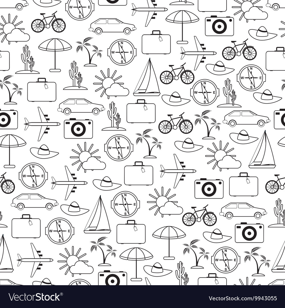 Travel and vacation seamless pattern vector image