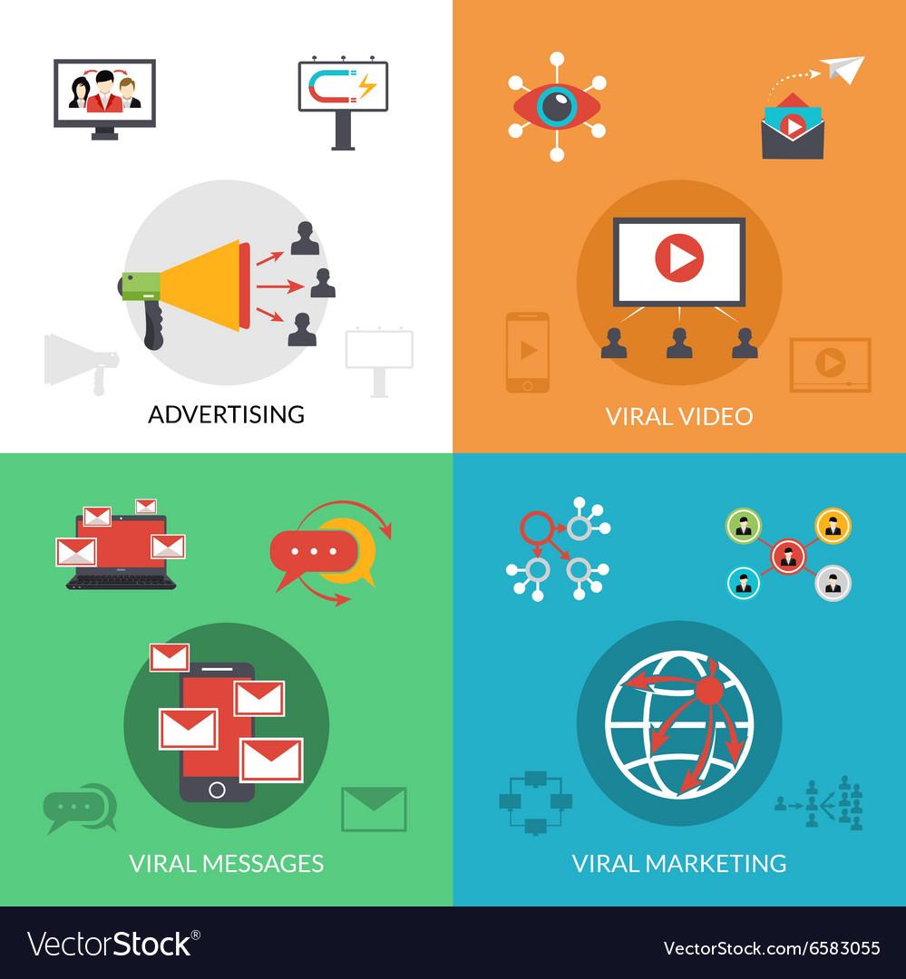 Viral marketing 4 flat icons square