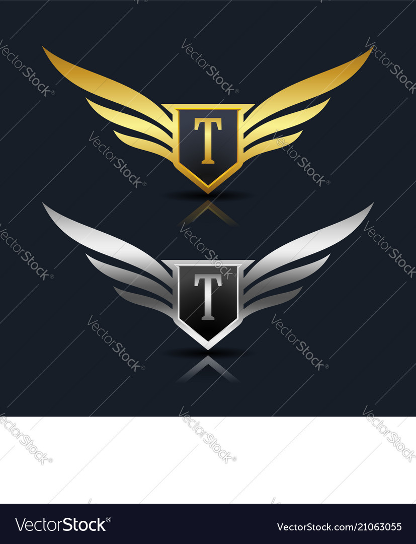 Wings shield letter t logo template vector image