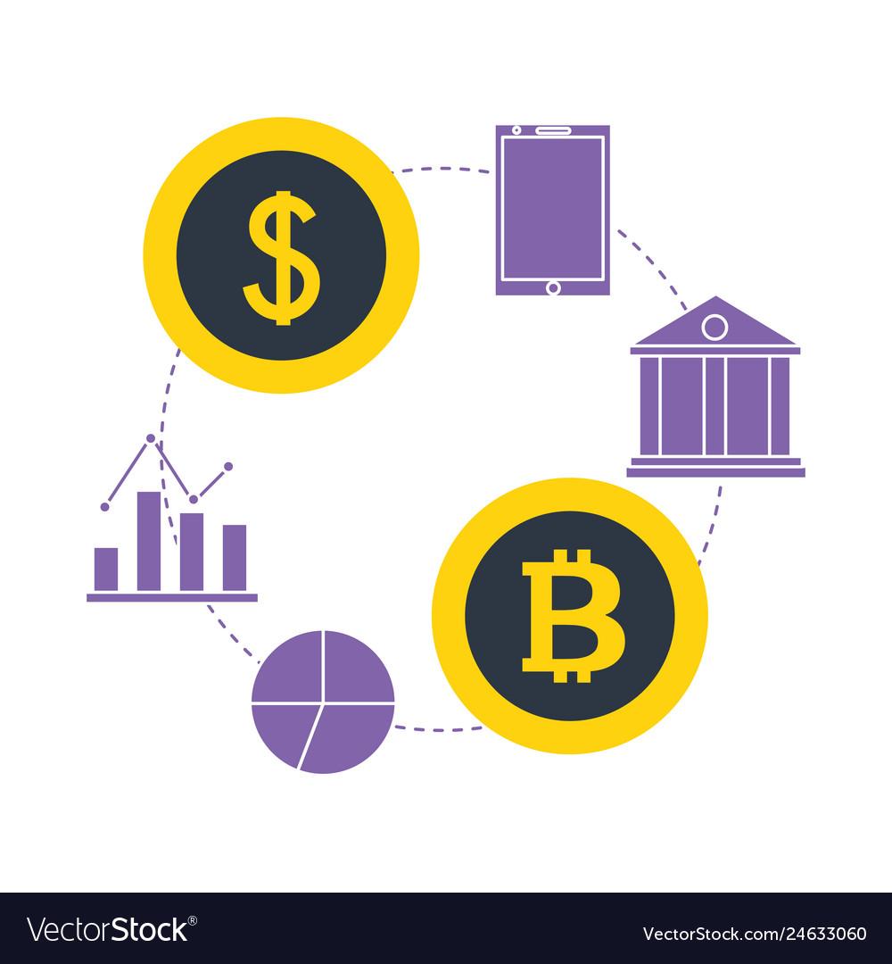 Bitcoin dollar money bank smartphone fintech