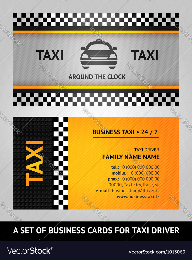 business cards taxi vector image - Taxi Business Cards