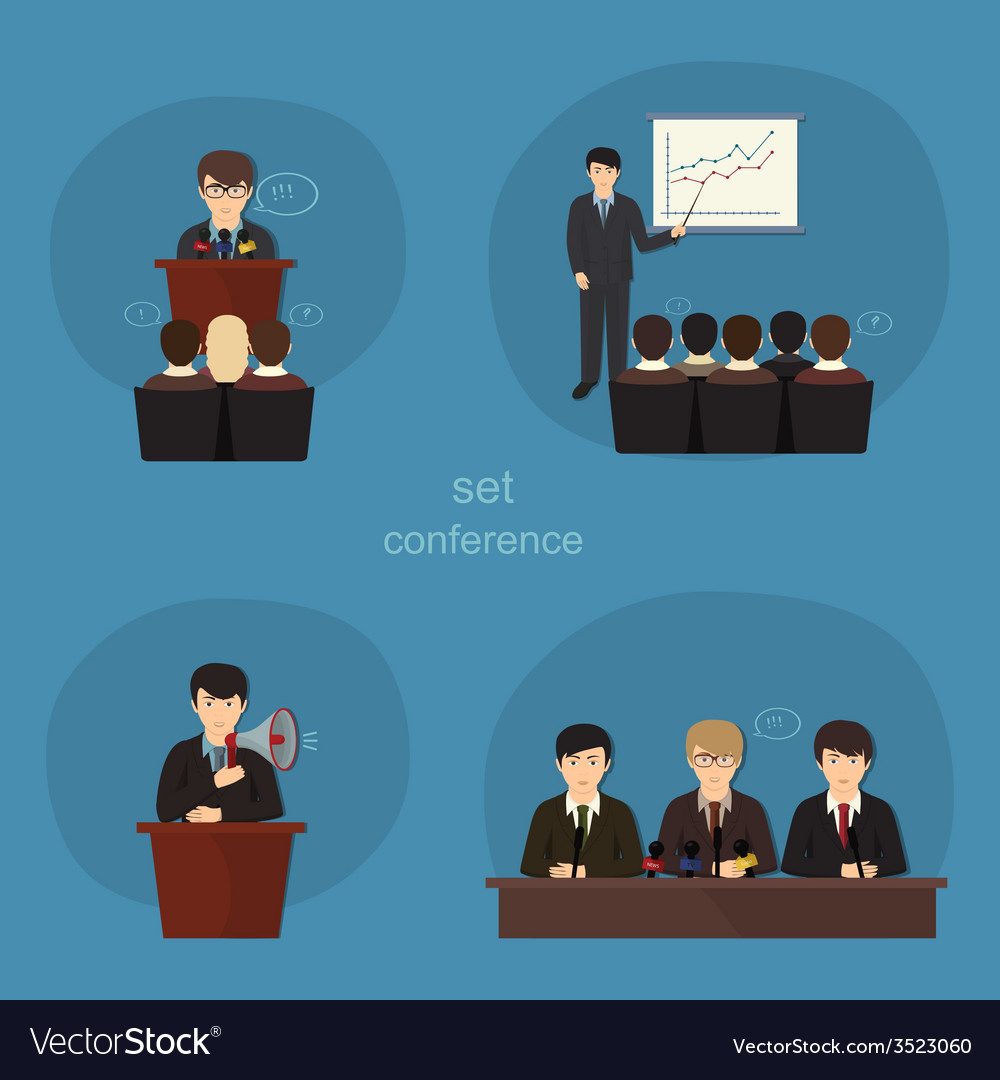 Business concept flat icons set of meeting