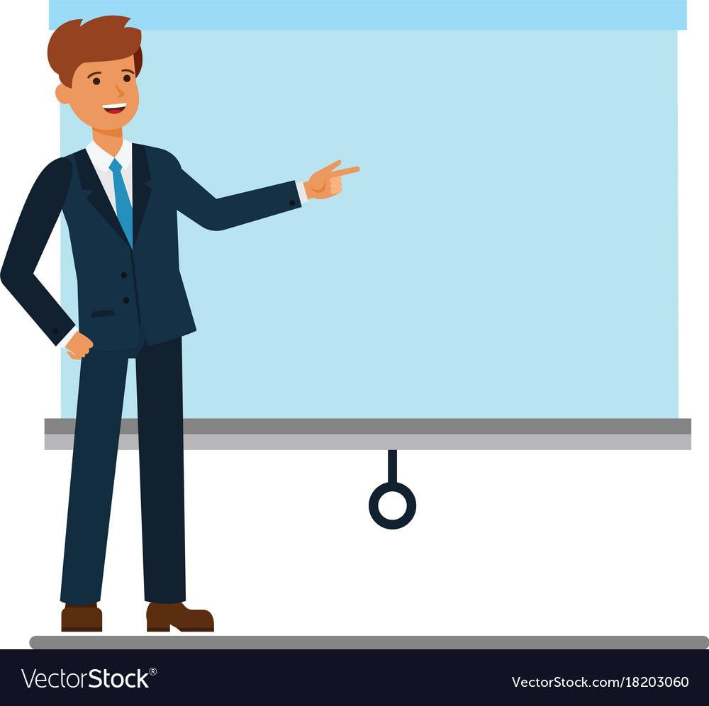 businessman showing presentation board cartoon vector image