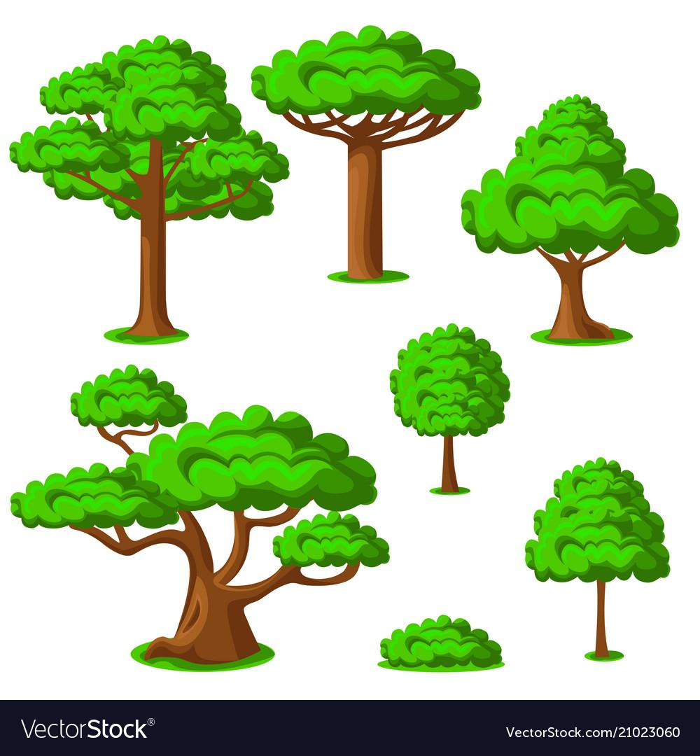 Cartoon trees set on a white background