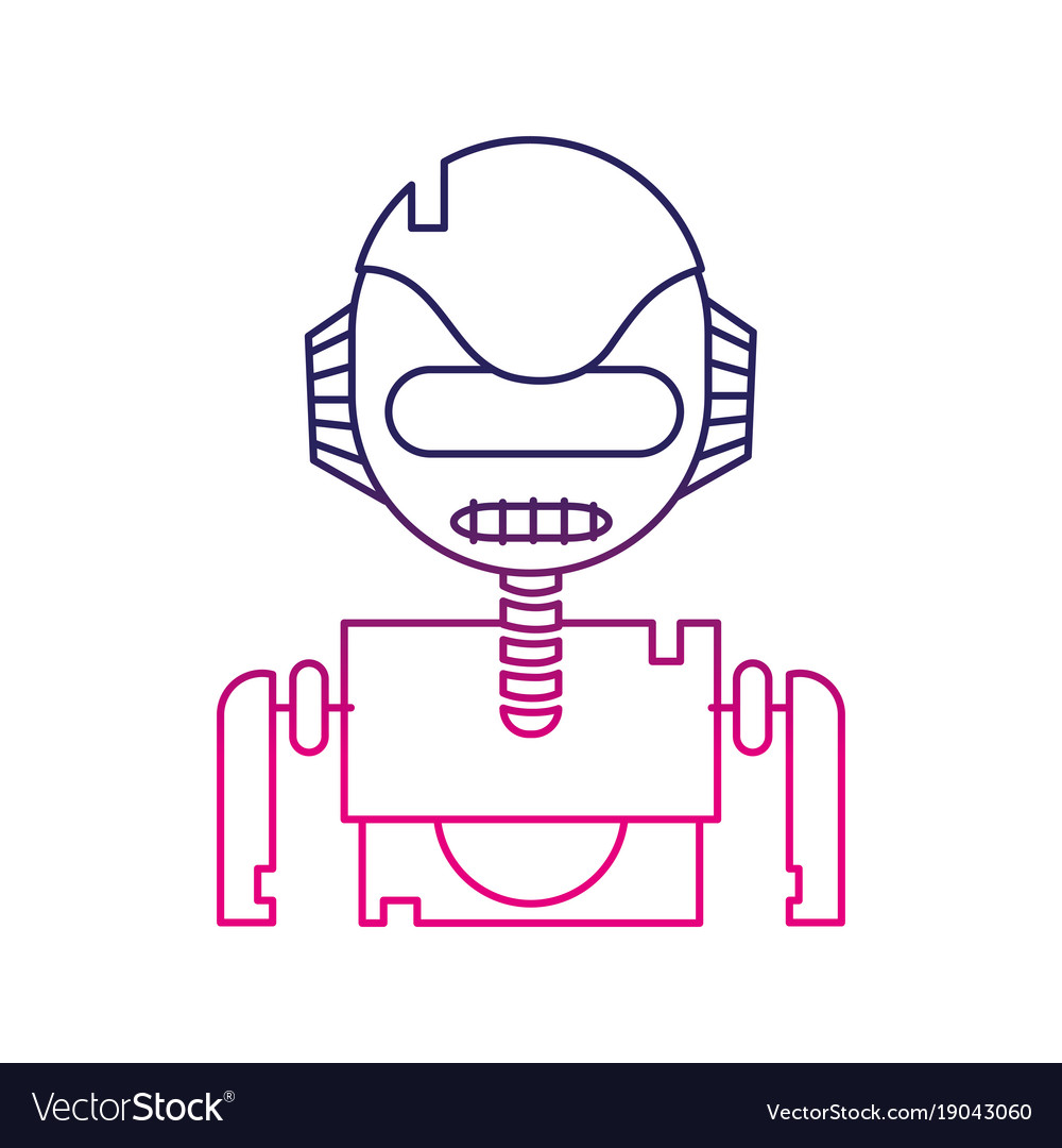Color Line Robot Face With Technology Robotic Vector Image
