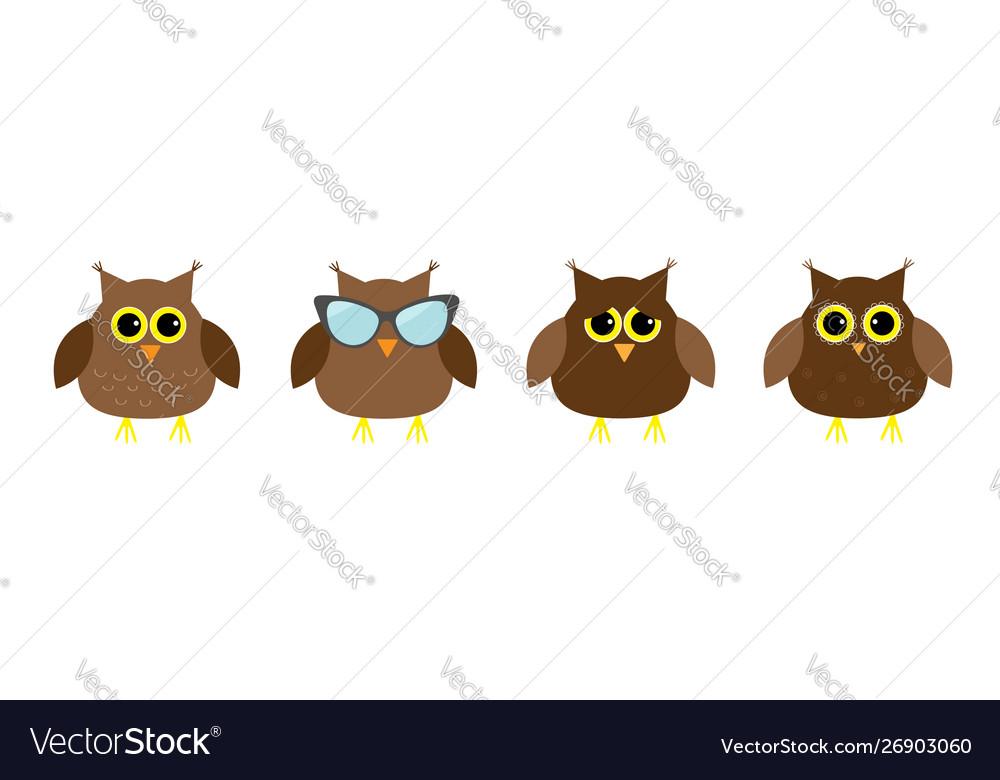 Cute owl set line big eyes sunglasses cute