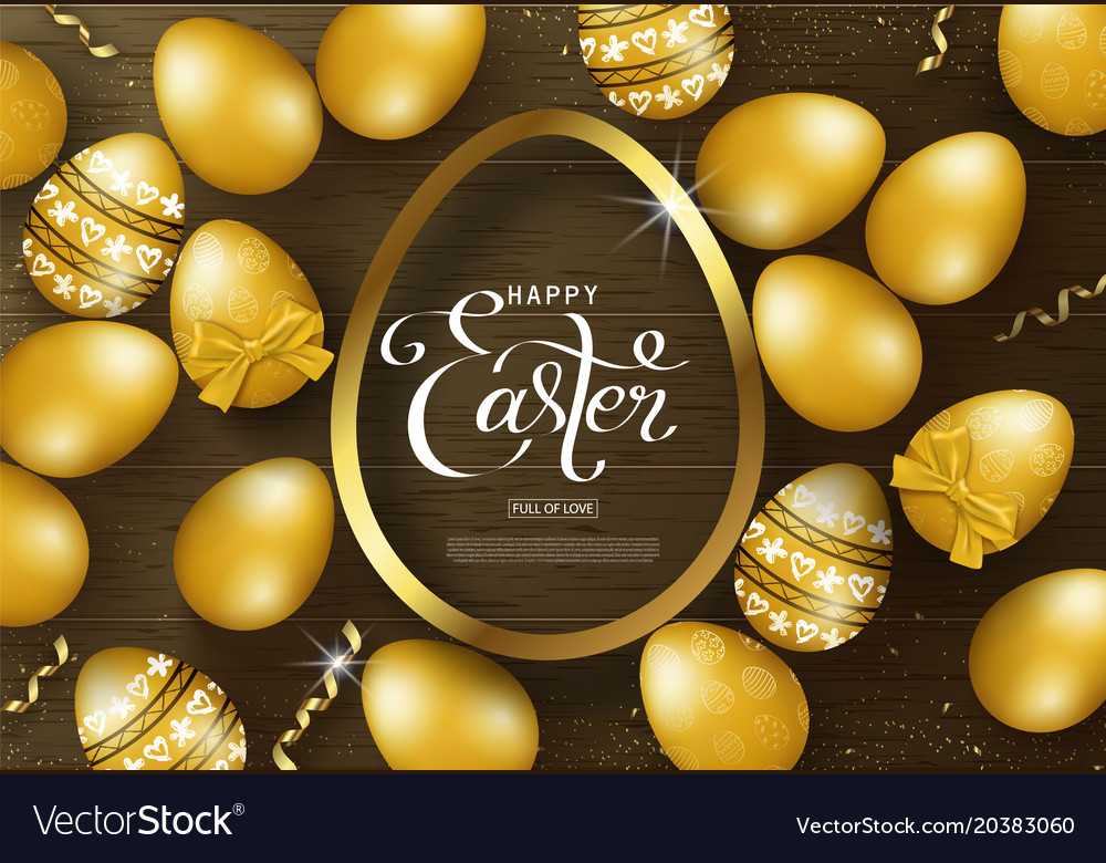 Happy easter background with golden eggs frame