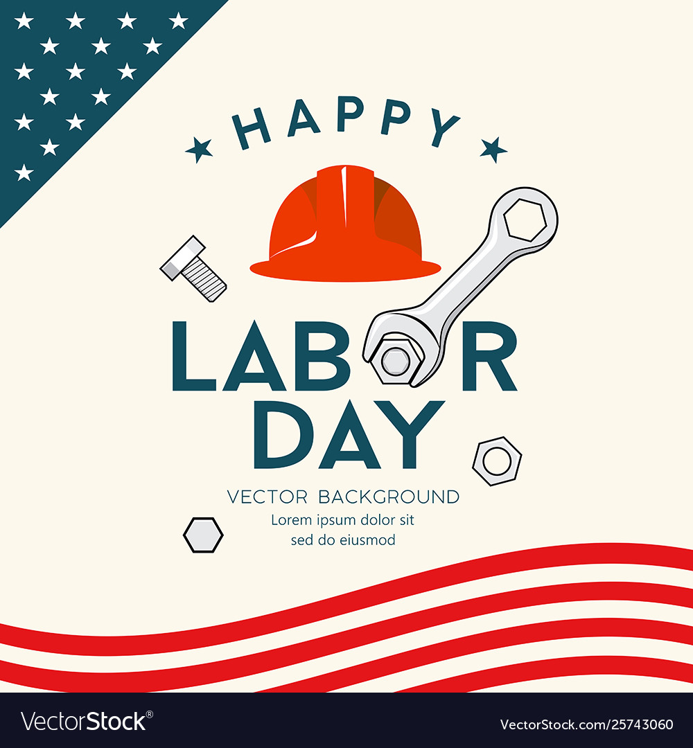 Happy labor day america engineer cap and wrench