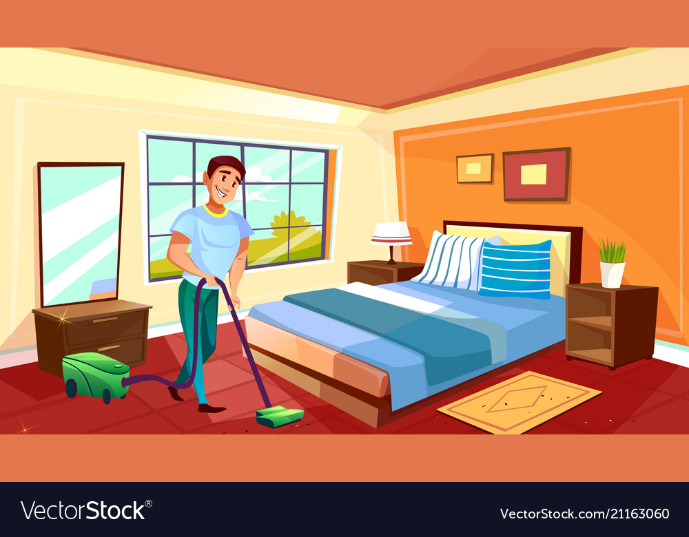 Man cleaning room with vacuum cleaner vector image