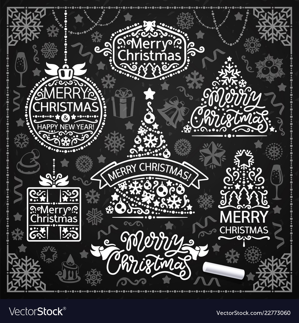 Merry Christmas Design With Chalk Word Art On