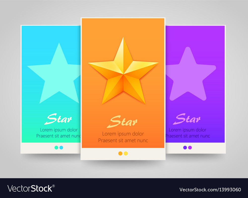 Modern colorful vertical stars banners