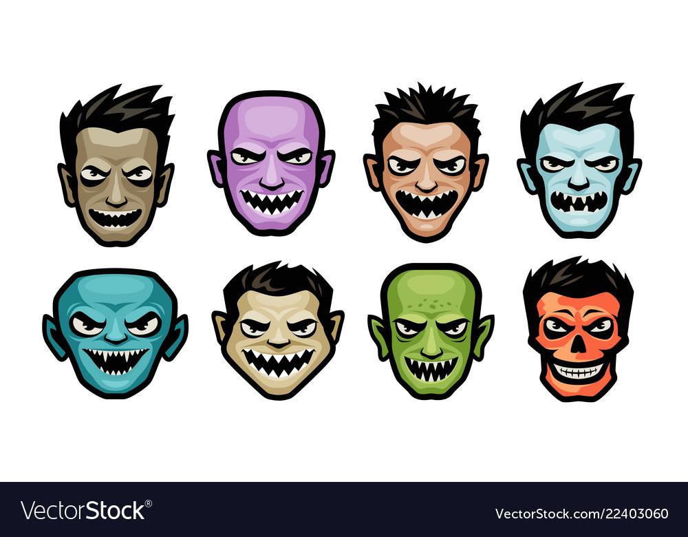 Monsters set halloween concept cartoon