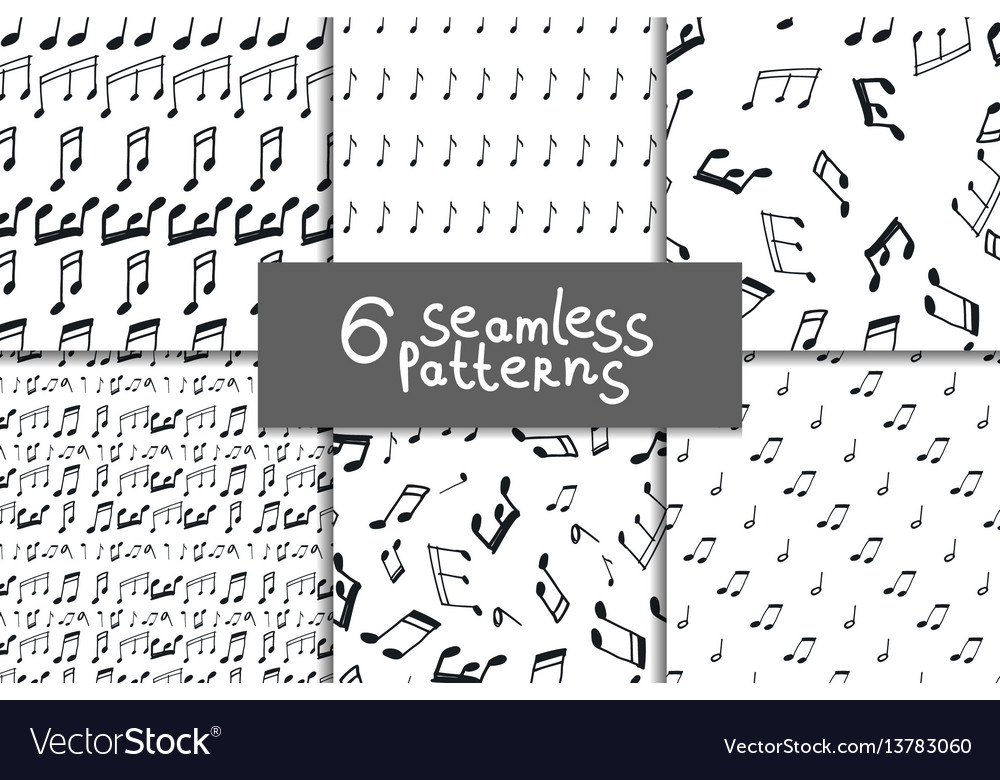 Music notes seamless pattern set