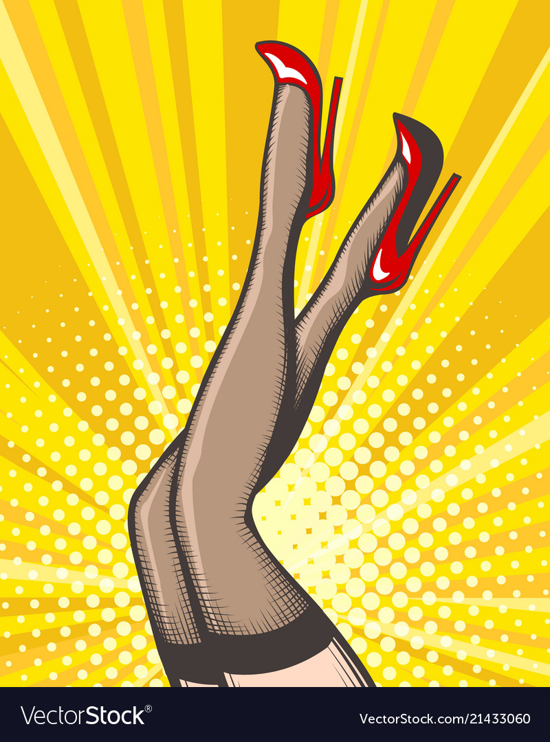 Pop art female legs in stockings and red shoes