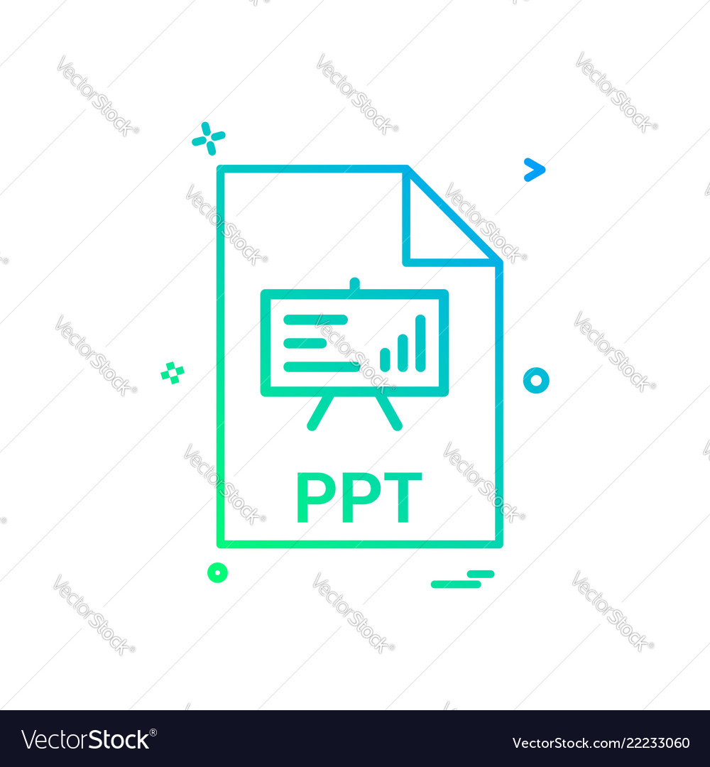 ppt file file extension file format icon design vector image