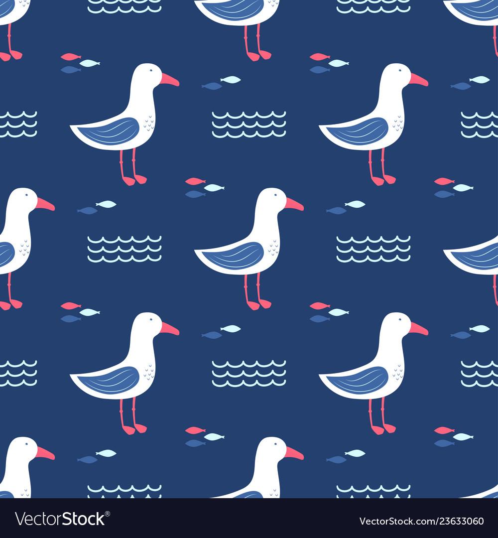 Seamless pattern gull