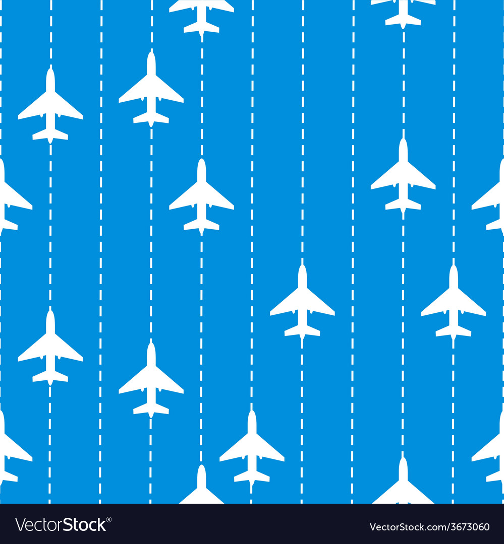 Seamless Pattern with Airplanes Bakground
