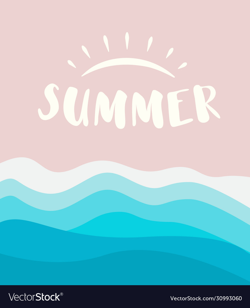 Summer banner template with drawn sun logo concept