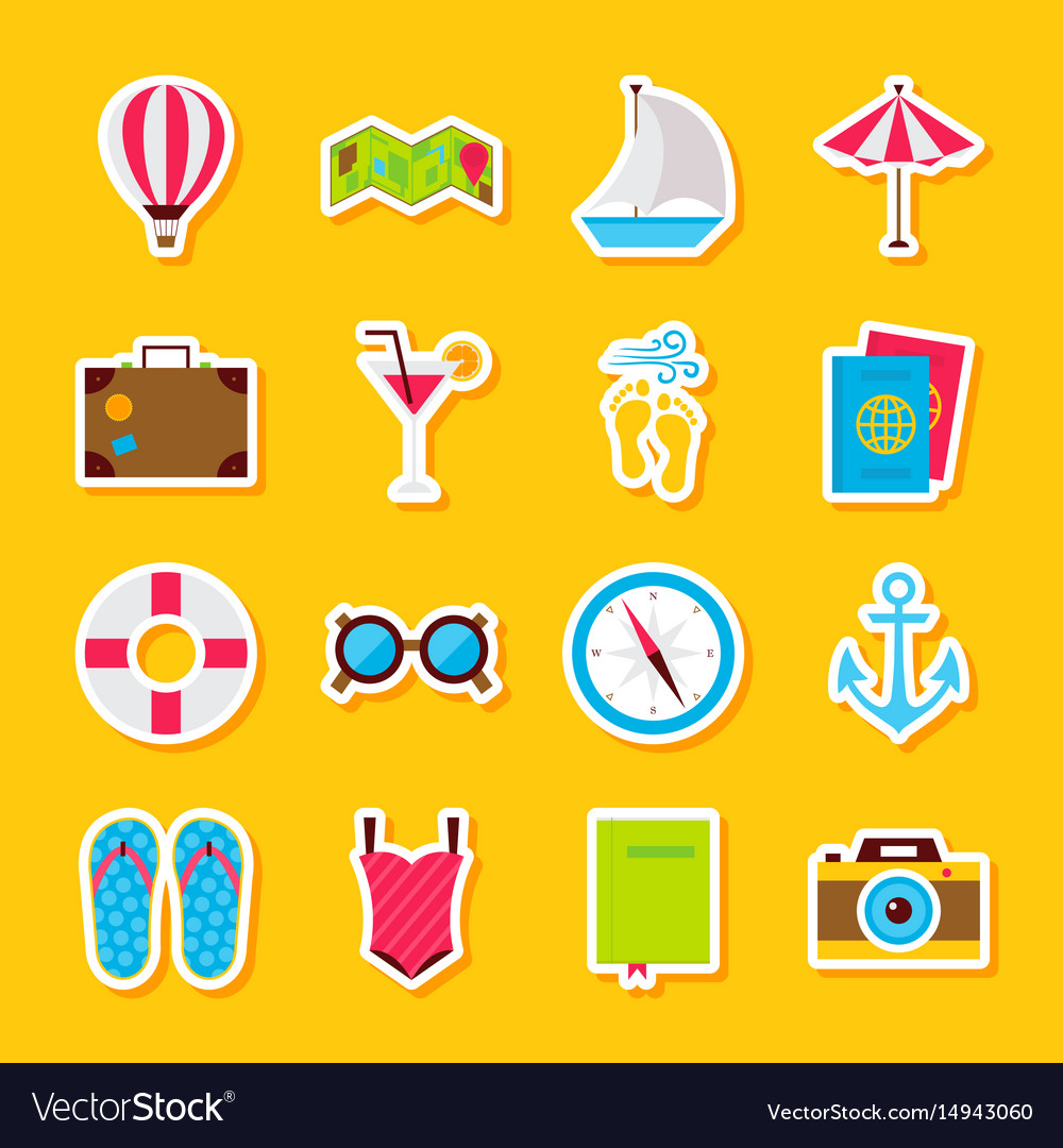Summer time stickers vector image