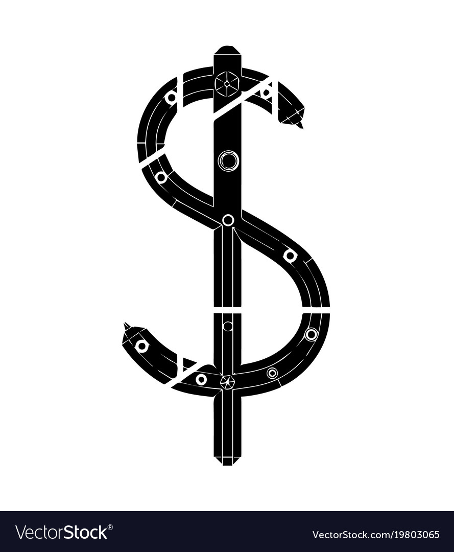 Black 3d model of dollar vector image