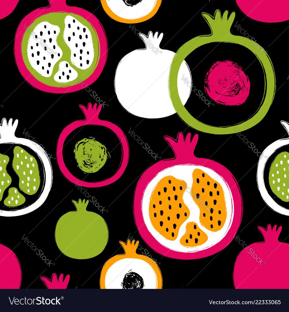 Brush grunge pomegranate seamless pattern