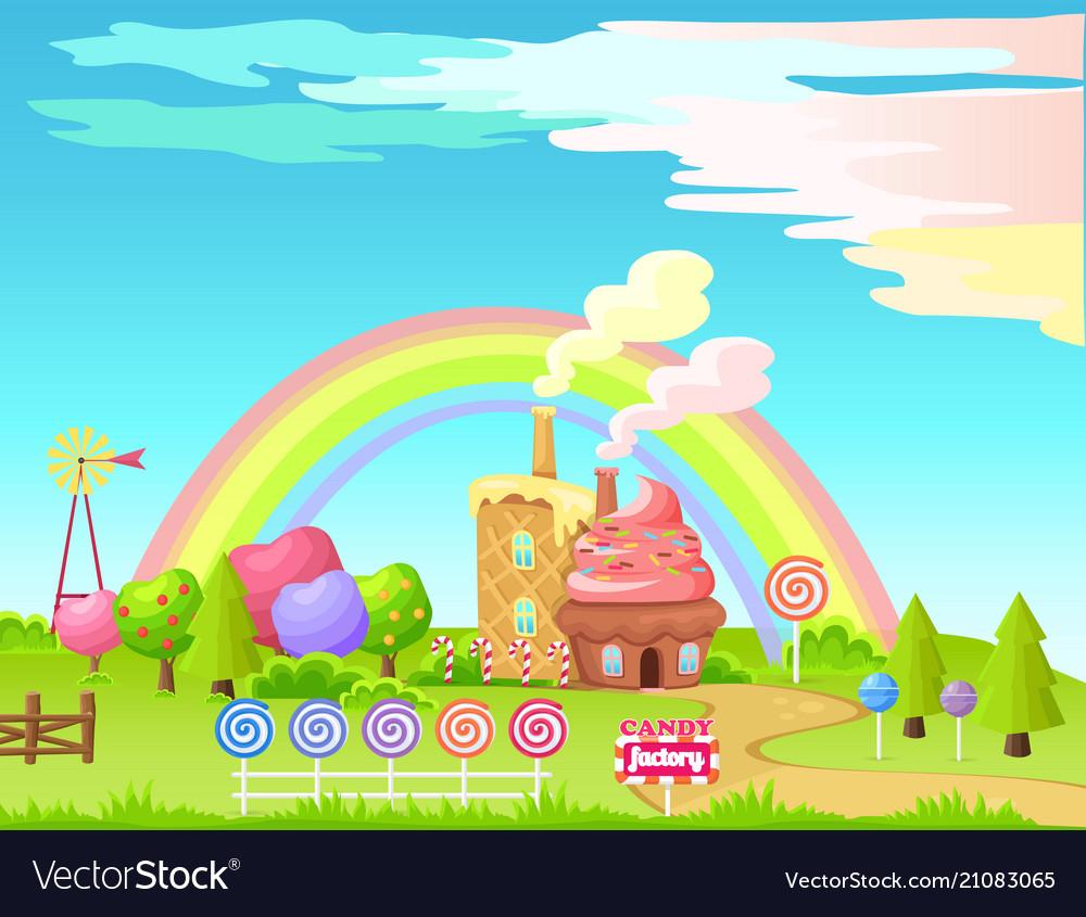 Candy factory fairy cartoon flat concept