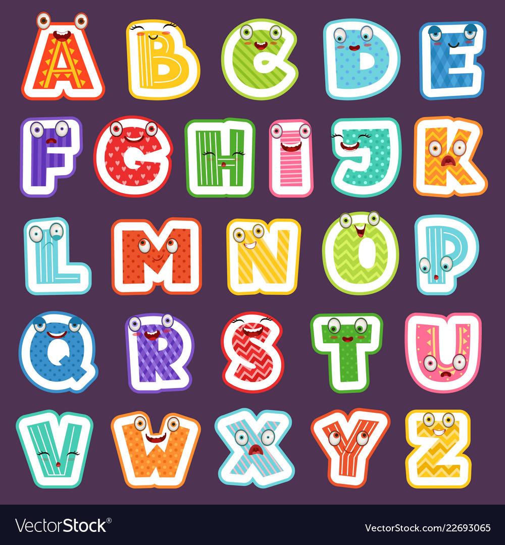 Cartoon alphabet with emotions colored cute font