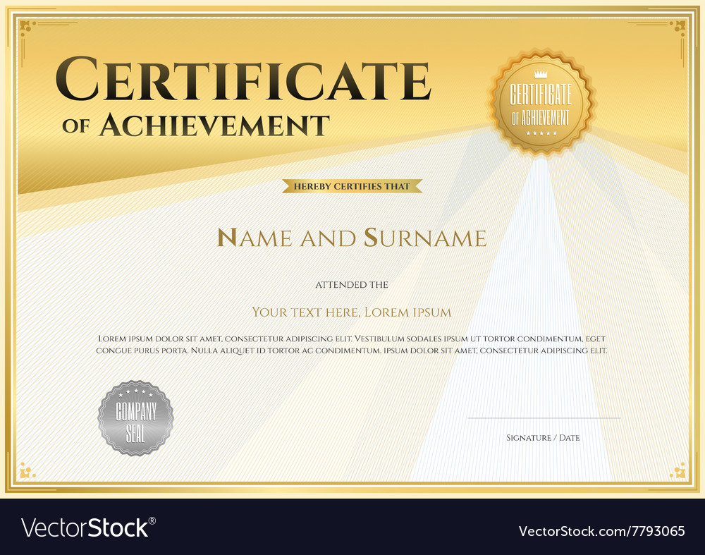 Certificate Of Achievement Template Gold Vector Image
