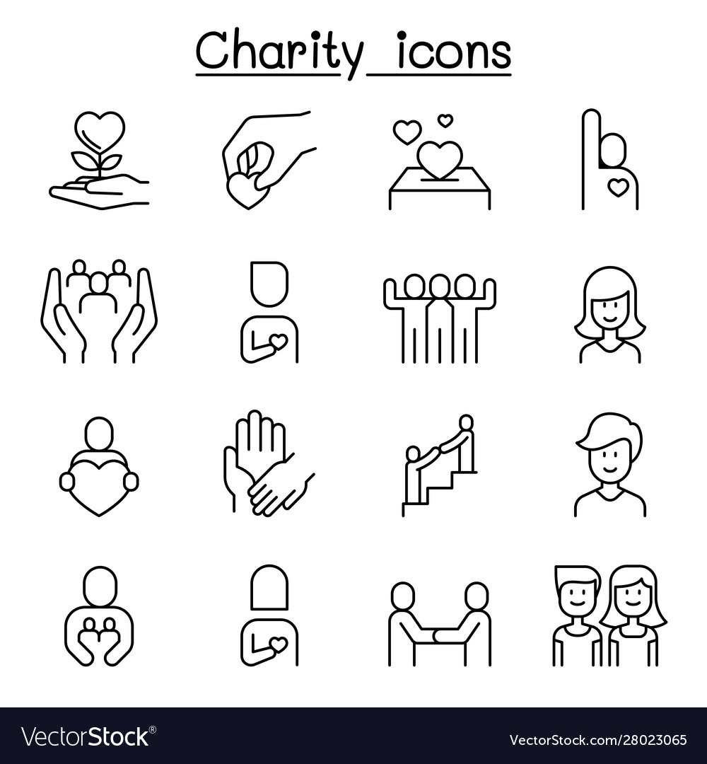 Charity kindness friendship care icon set in thin
