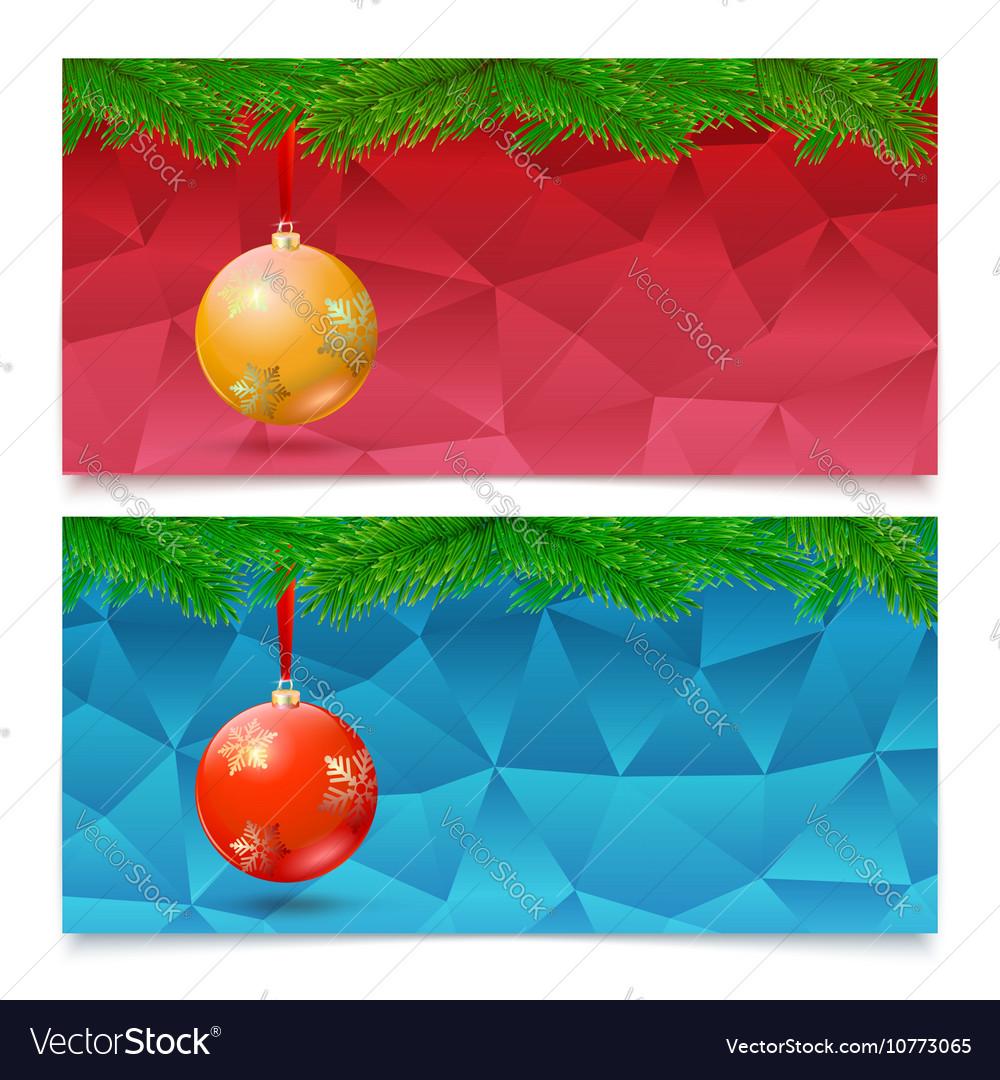 Horizontal Christmas banners Fir tree branches