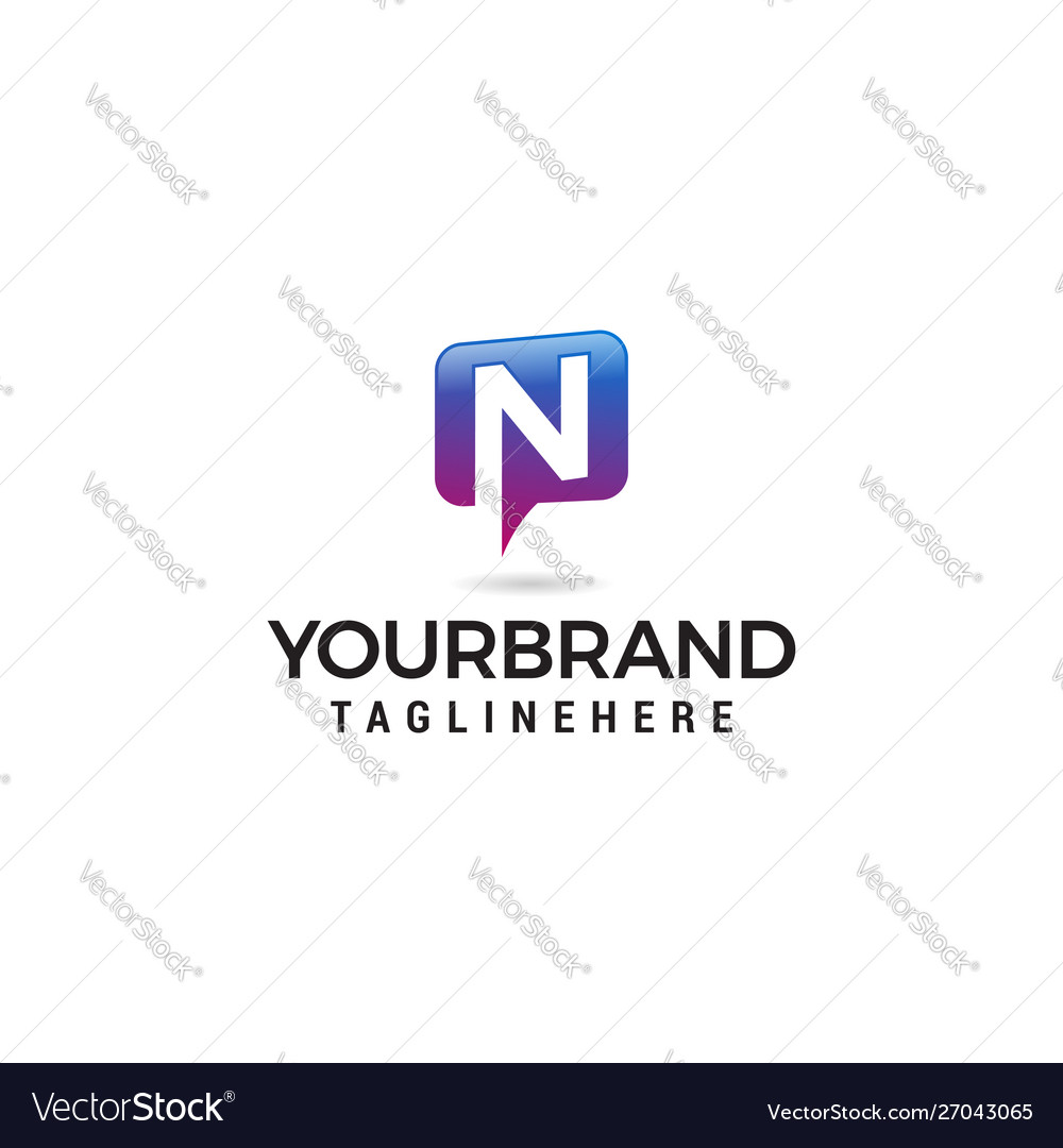 Letter n chat logo abstract alphabet