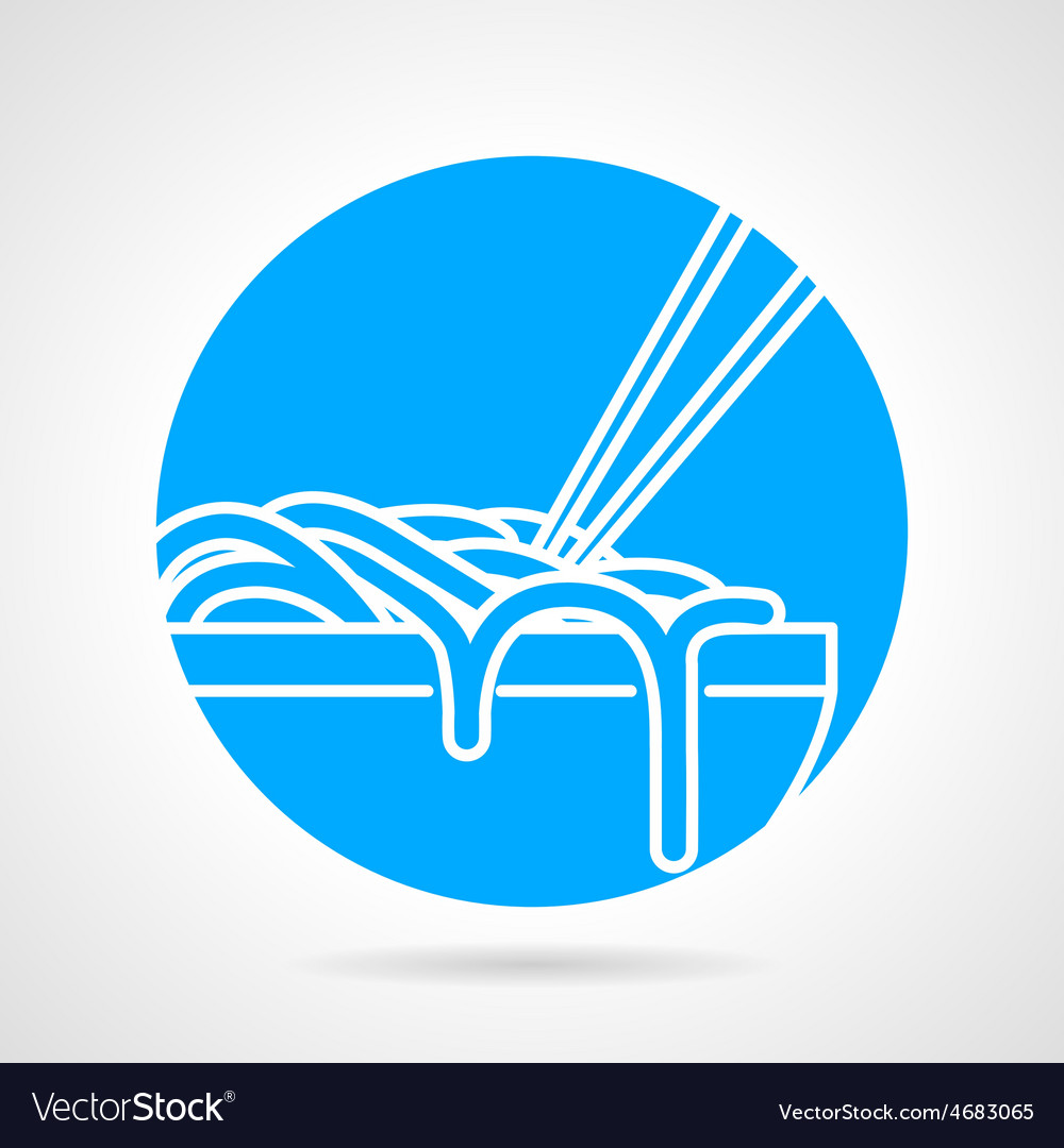 Noodles bowl blue round icon