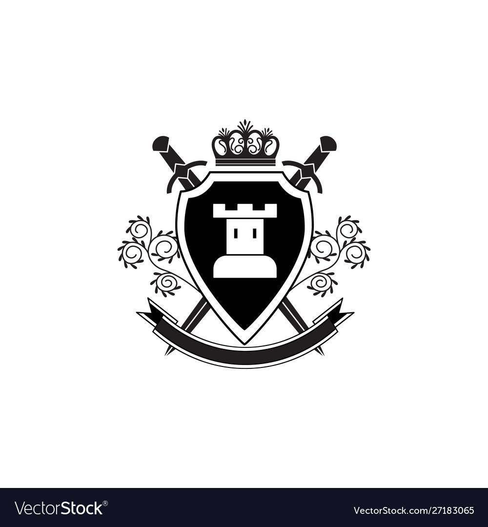 Royal shield emblem or logo with tower swords