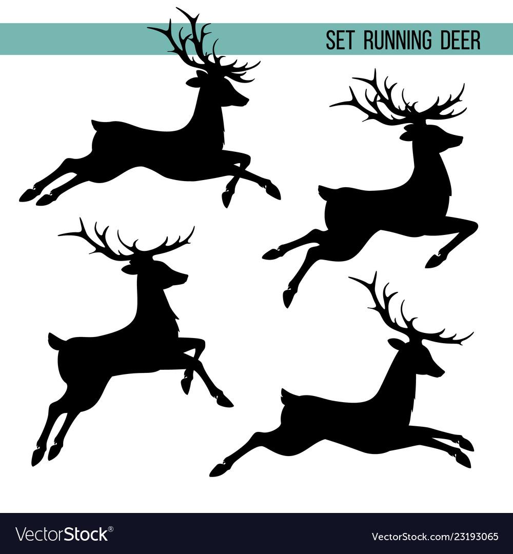 Set silhouette of running deer