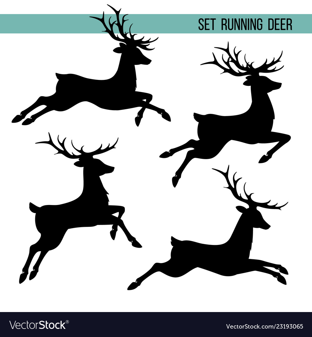 Set silhouette running deer vector